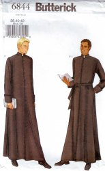 Butterick 6844 Clergy Robe Sewing Pattern Mens Size 38, 40 and 42 New and Uncut