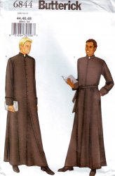 Butterick 6844 Clergy Robe Sewing Pattern Mens Size 44, 46 and 48 New and Uncut