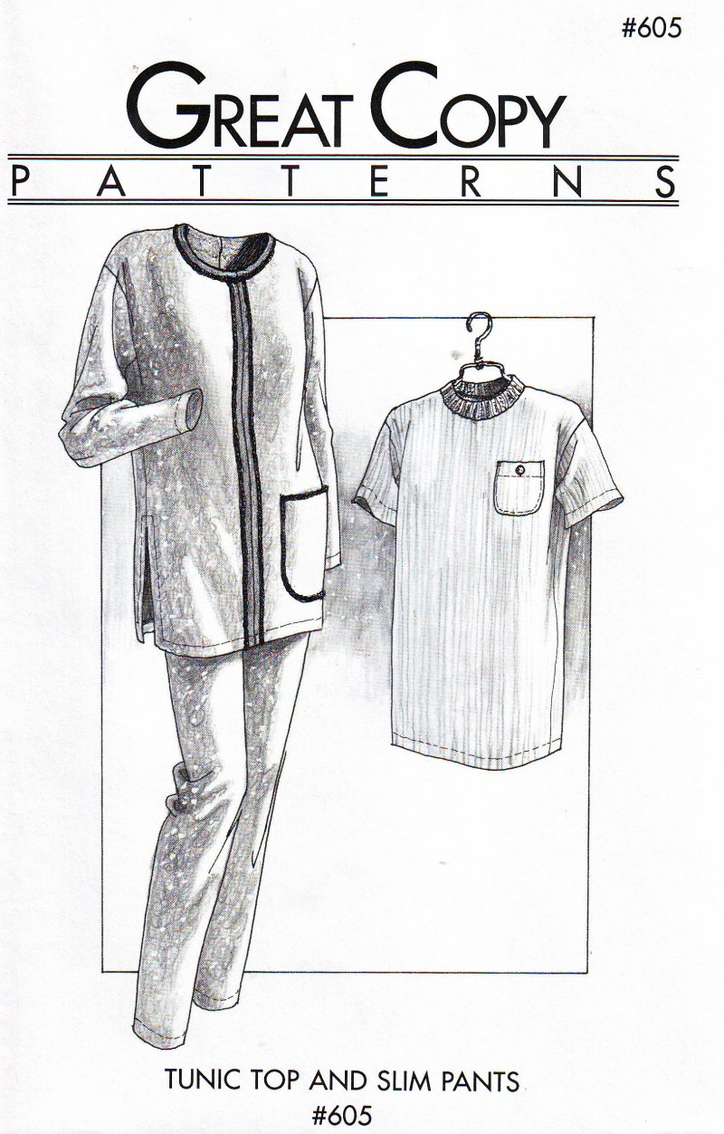 Great Copy #605 (Ex-Sm thru Ex-Large) Tunic Top Slim Pants Uncut Sewing  Pattern