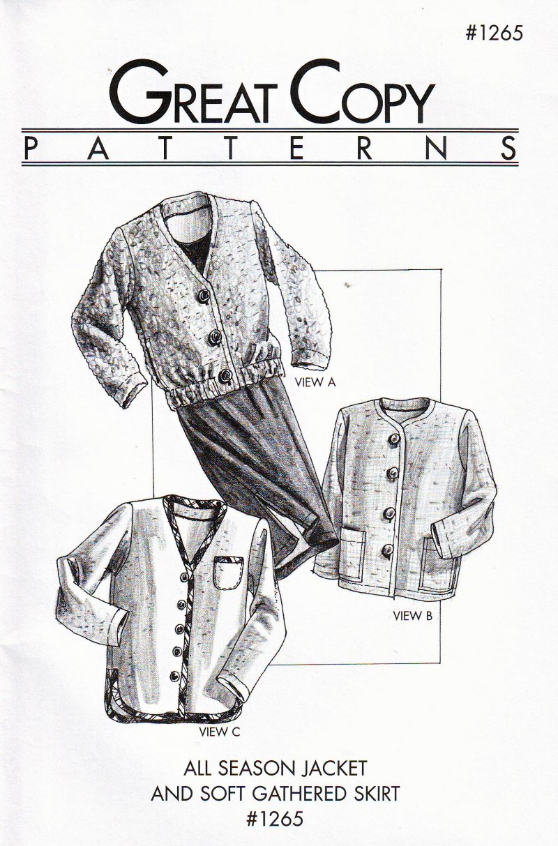 Great Copy #1265 (Ex-Sm thru Ex-Large) Jacket and Skirt Uncut Sewing  Pattern