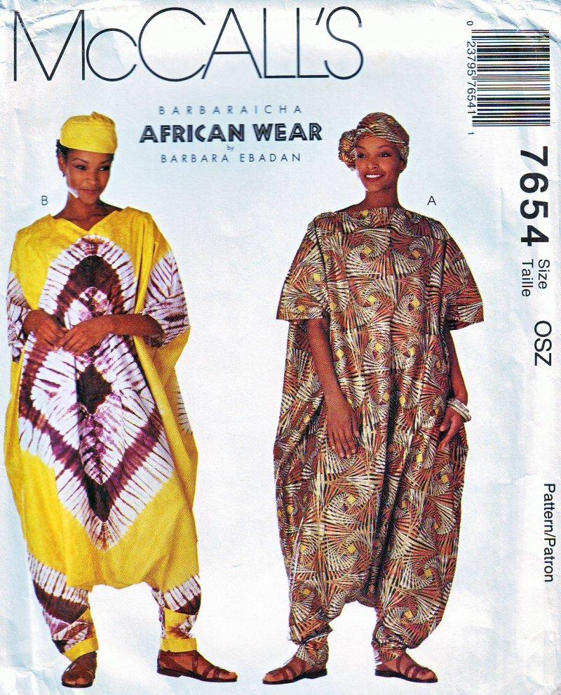 McCall's 7654 (OSZ) African Wear Barbara Ebadan Jumpsuit Headwear Uncut Pattern