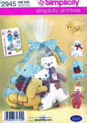 Simplicity 2945 (One Size) Simplicity Archives Stuffed Toys Uncut Sewing Pattern