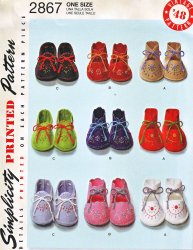 Simplicity 2867 (One Size) Vintage 1948 Baby Booties Sewing Embroidery Pattern