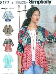 Simplicity 8172 Misses A(XXS-XXL) Misses' Kimono with Variations Sewing Pattern