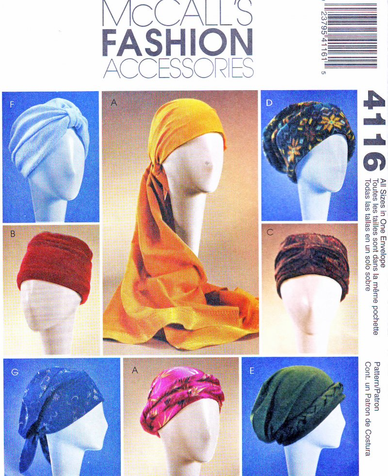 McCall's 40 All Sizes Sewing Pattern Turbans Headwrap Hats Stunning Chemo Cap Sewing Pattern