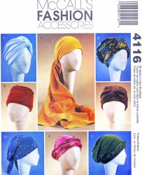 McCall's 4116 (All Sizes) Sewing Pattern, Turbans, Headwrap, Hats, Chemo Caps