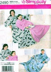 Simplicity 2490 Sewing Pattern (S,M,L) Snuggie Fleece Lounge Blanket Pattern