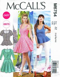 McCall's M6754 (L-XL-XXL)  Misses' Top and Dress Sewing Pattern
