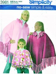 Simplicity 3981 Misses' Child's Girls' No-Sew Poncho in Two Lengths Pattern