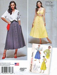 Simplicity #1166 (16-24) Retro 1950's Blouse Bra Top and Skirt Sewing Pattern