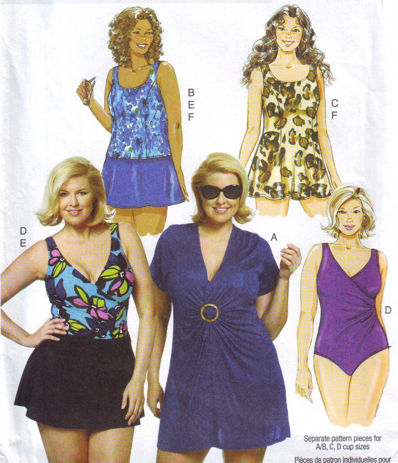 Butterick 5795 (18W-24W) OR (26W-32W) Cover-Up and Swimwear Sewing ...