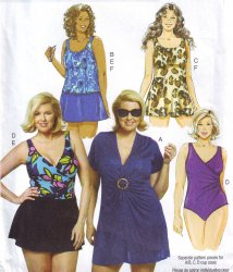 Butterick 5795 (18W-24W) OR (26W-32W) Cover-Up and Swimwear Sewing Pattern