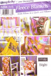 Simplicity 5206 Sewing Pattern - Fleece Blankets and Pillows
