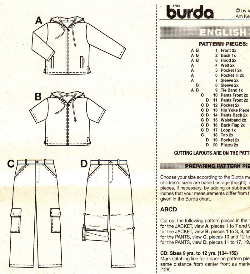 Image 3 of Burda 9834 Boys Sewing Pattern - Hoodie and Pants (8-12) Uncut Sewing Pattern