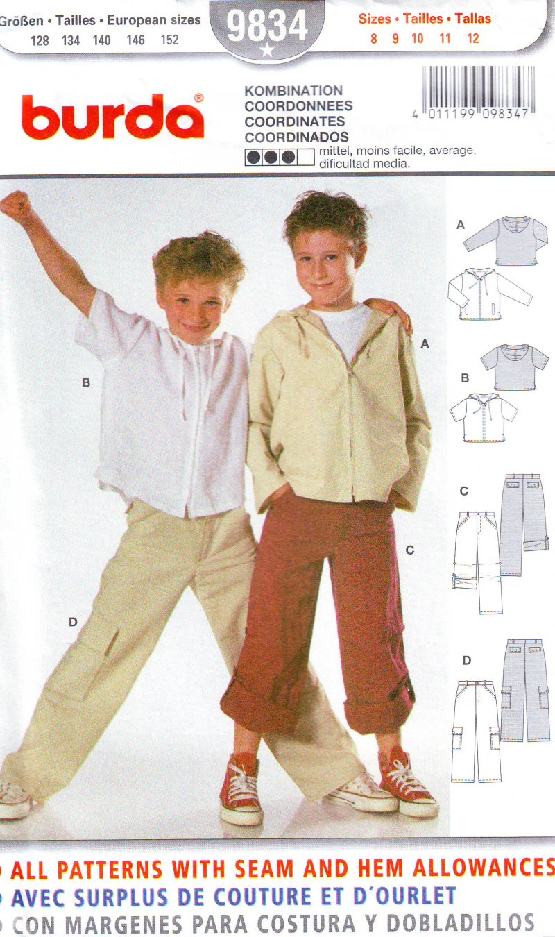 Image 0 of Burda 9834 Boys Sewing Pattern - Hoodie and Pants (8-12) Uncut Sewing Pattern