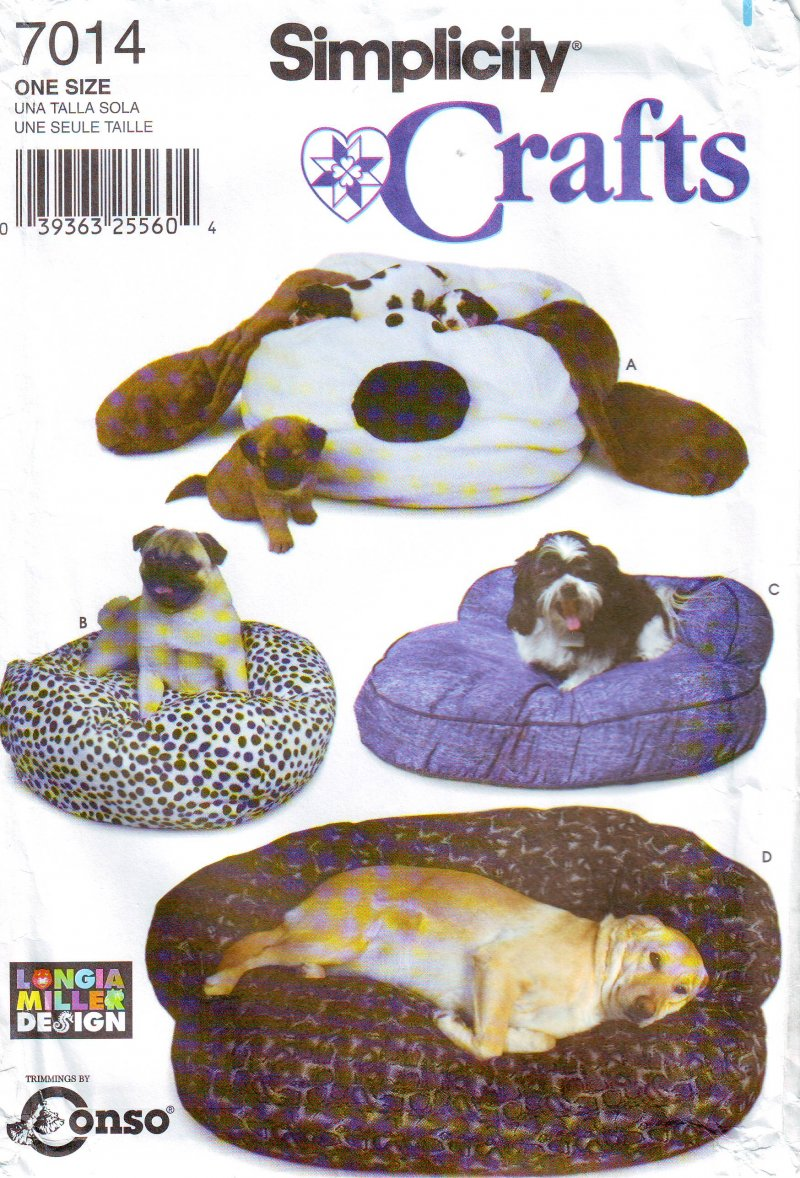 Image 0 of Simplicity 7014 Sewing Pattern Floppy Ear Dog Bed Uncut Sewing Pattern
