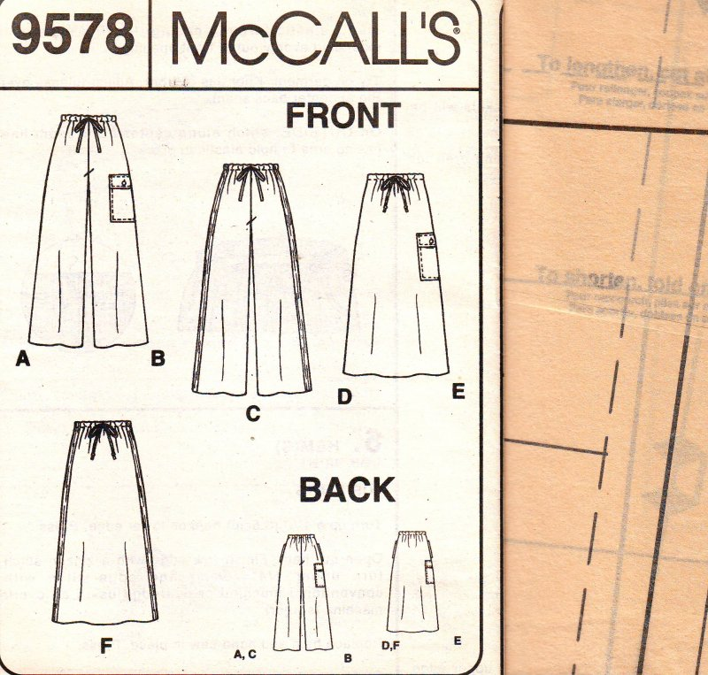 Image 3 of McCall's 9578 Sewing Pattern Misses' Pull-On Pant and Skirt Uncut Pattern