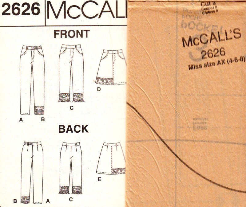 Image 3 of McCall's 2626 (4-6-8) Misses' Pants and Skirt Uncut Sewing Pattern