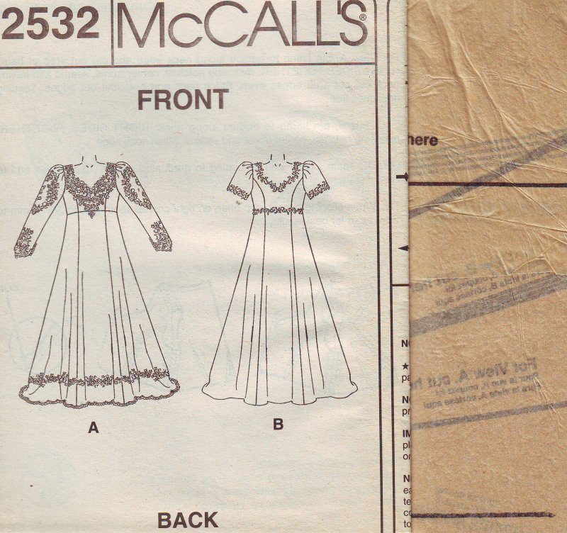 Image 3 of McCall's 2532 ( 26W-28W-30W-32W-B-44-50) Women's Bridal Gown Sewing Pattern