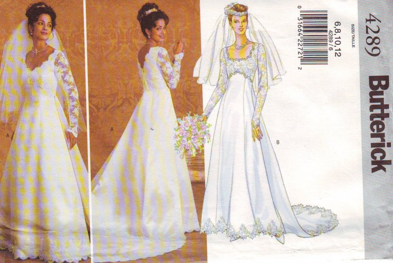Image 1 of Butterick 4289 (6-12) or (14-18) Misses' Bridal Gown Uncut Sewing Pattern
