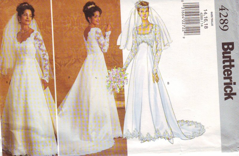 Image 2 of Butterick 4289 (6-12) or (14-18) Misses' Bridal Gown Uncut Sewing Pattern