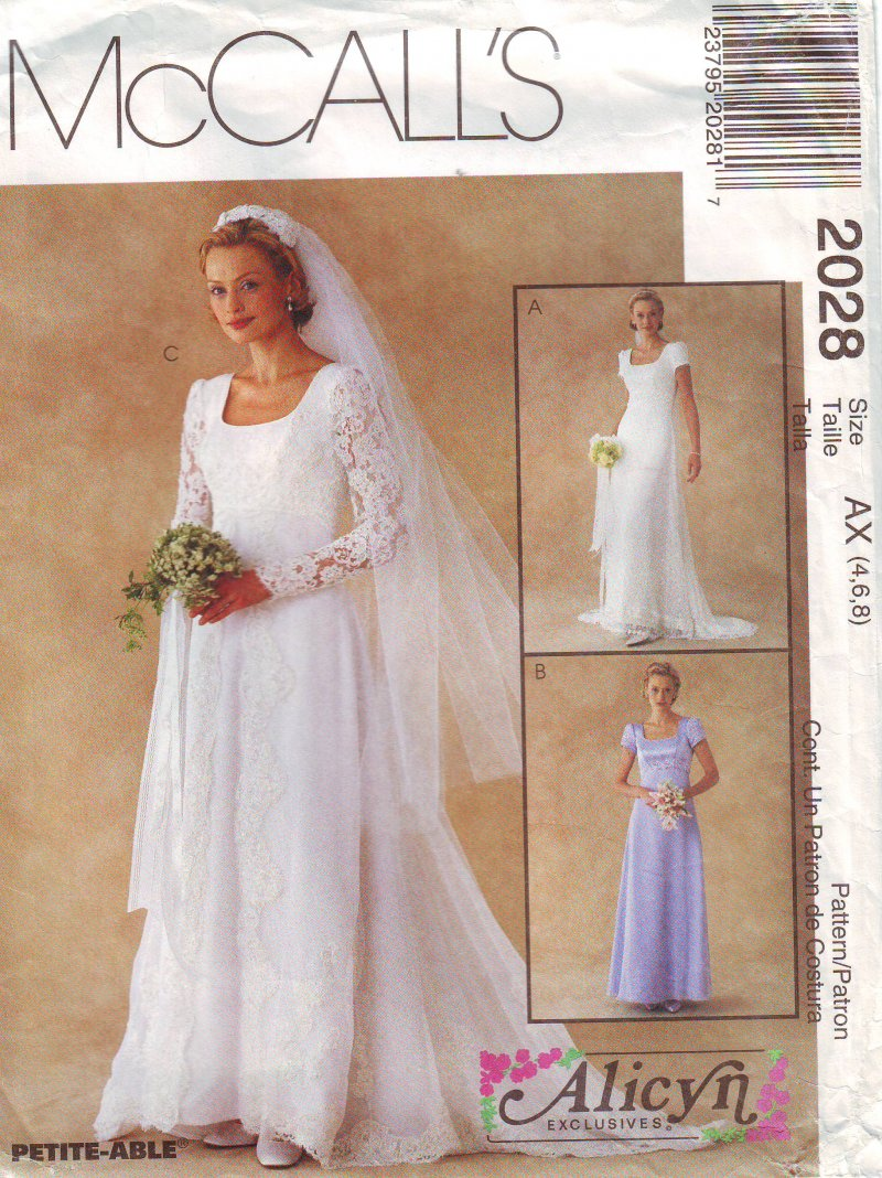 Image 1 of McCall's 2028 (4-6) or (8-12) Misses' Bridal Gown Uncut Sewing Pattern