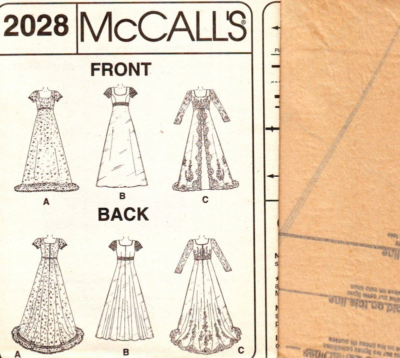 Image 6 of McCall's 2028 (4-6) or (8-12) Misses' Bridal Gown Uncut Sewing Pattern