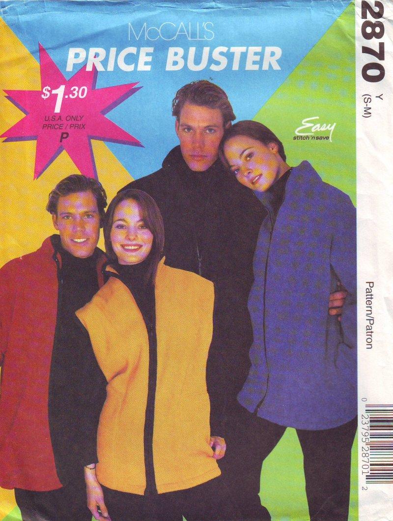 Image 0 of McCalls 2870 ( Small-Medium) Jacket or Vest Unisex Uncut Sewing Pattern