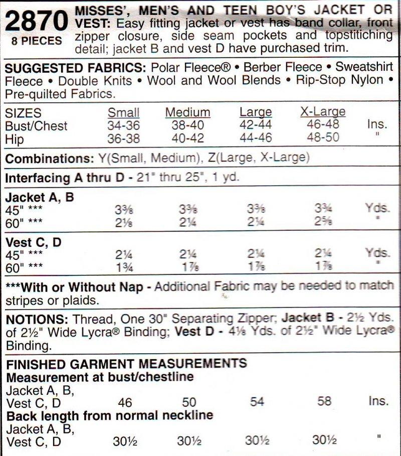 Image 1 of McCalls 2870 ( Small-Medium) Jacket or Vest Unisex Uncut Sewing Pattern