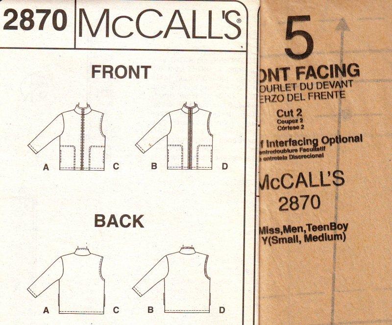 Image 3 of McCalls 2870 ( Small-Medium) Jacket or Vest Unisex Uncut Sewing Pattern