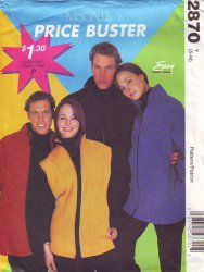 McCalls 2870 ( Small-Medium) Jacket or Vest Unisex Uncut Sewing Pattern