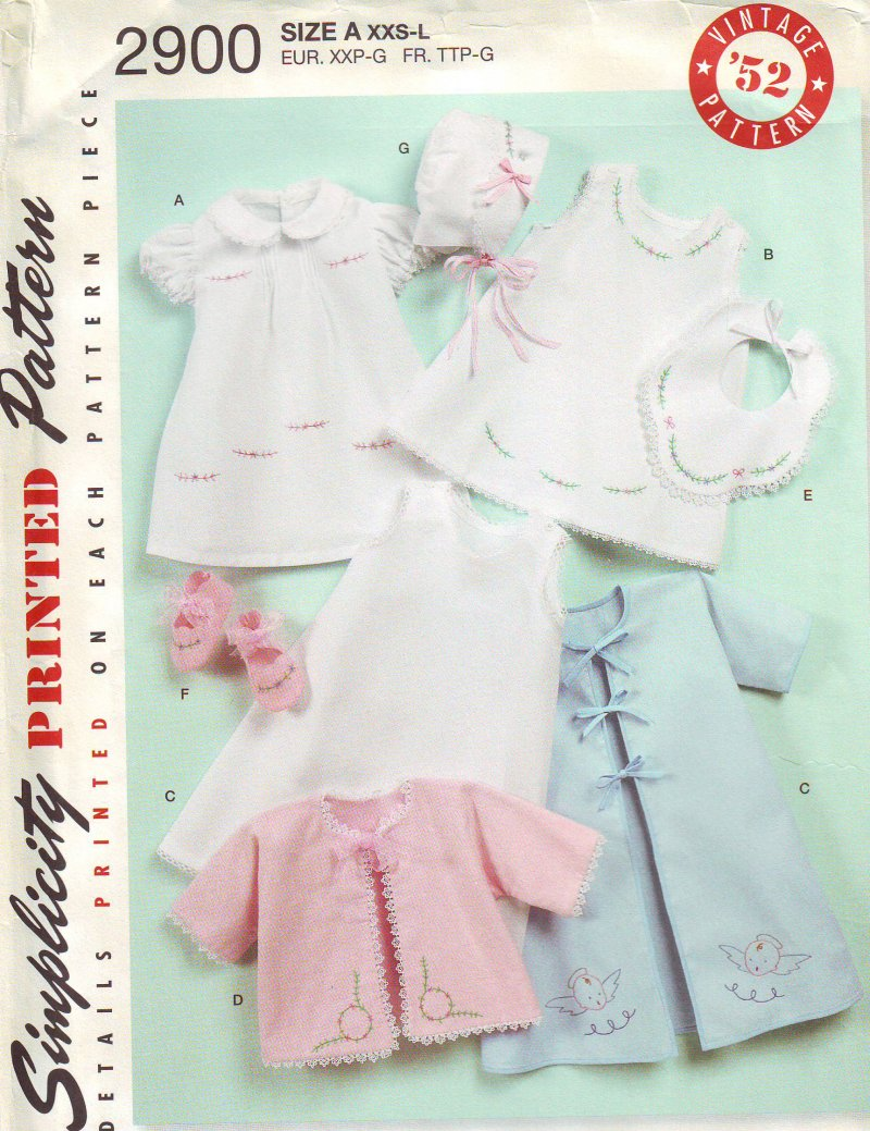 Image 0 of Simplicity 2900 Babies (XS-L) Layette and Bonnet in Three Sizes Sewing Pattern