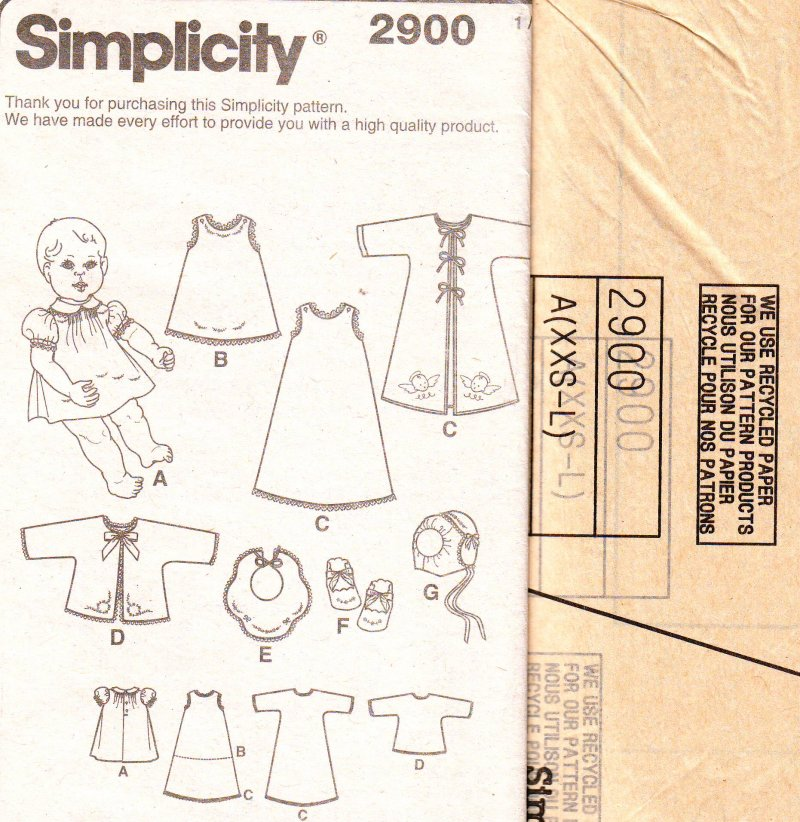 Image 2 of Simplicity 2900 Babies (XS-L) Layette and Bonnet in Three Sizes Sewing Pattern