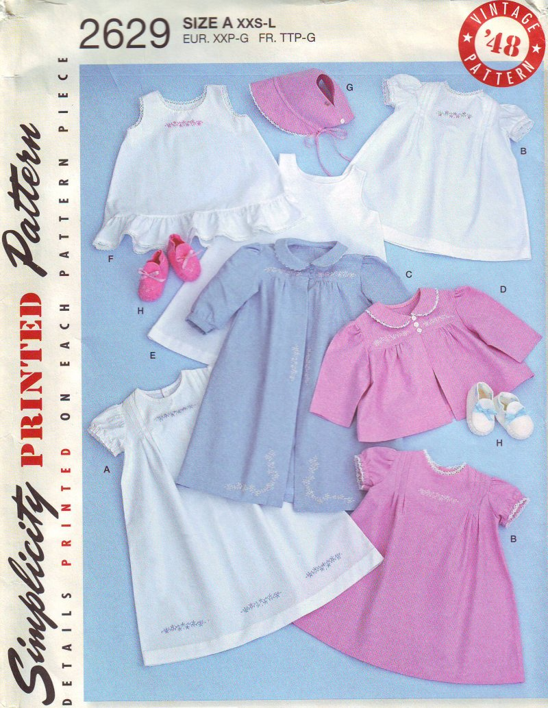 Image 0 of Simplicity 2629 Babies (XXS-L) Layette and Bonnet in Three Sizes Sewing Pattern
