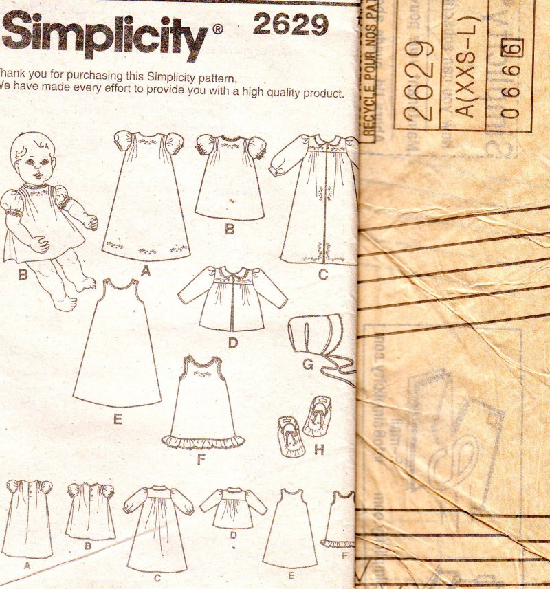 Image 2 of Simplicity 2629 Babies (XXS-L) Layette and Bonnet in Three Sizes Sewing Pattern