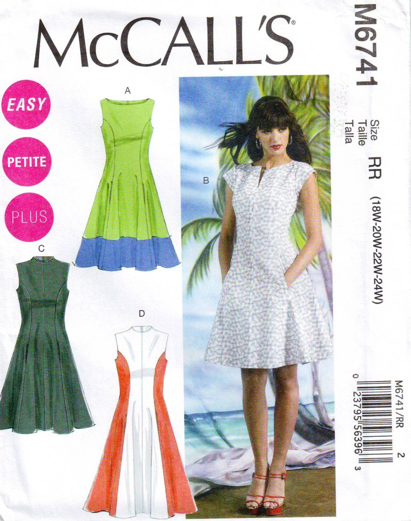 Image 0 of McCalls 6741 Plus Size Womens Fitted and Flared Dress (18W-24W) Sewing Pattern