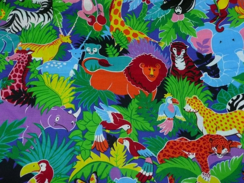 Image 0 of 4 YDS Colorful Jungle Print Fabric VIP Cranston Elephants Tigers Giraffe Pandas