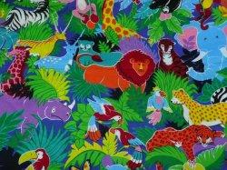 4 YDS Colorful Jungle Print by VP Cranston Elephants Tigers Giraffes Pandas
