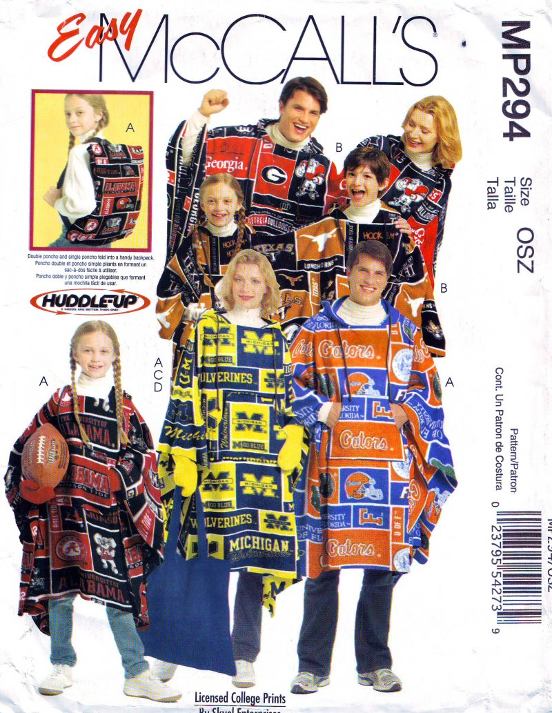 Image 0 of McCalls MP294/M5771 Misses' Mens Boys Girls' Ponchos Mittens Tote Sewing Pattern