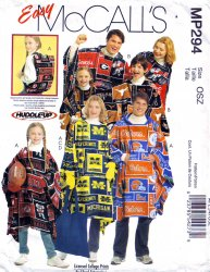McCalls MP294/M5771 Misses' Mens Boys Girls' Ponchos Mittens Tote Sewing Pattern