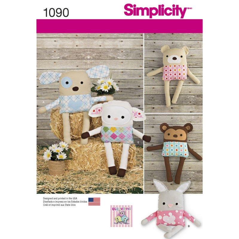 Image 0 of Simplicity 1090 Sewing Pattern Stuffed Dog, Bunny, Monkey, Bear and Lamb