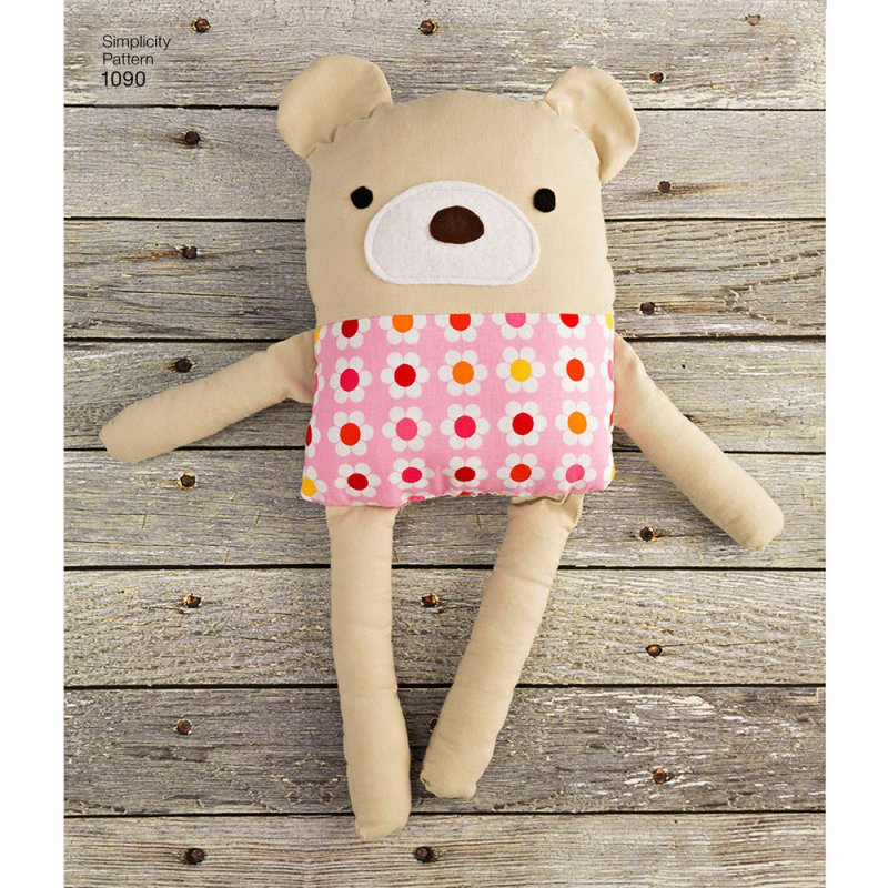 Image 0 of Simplicity 1090 Sewing Pattern Stuffed Dog, Bunny, Monkey, Bear and Lamb