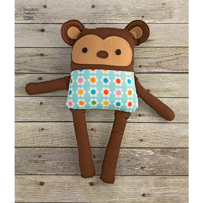 Image 2 of Simplicity 1090 Sewing Pattern Stuffed Dog, Bunny, Monkey, Bear and Lamb