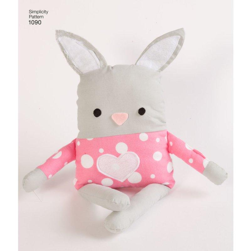 Image 3 of Simplicity 1090 Sewing Pattern Stuffed Dog, Bunny, Monkey, Bear and Lamb