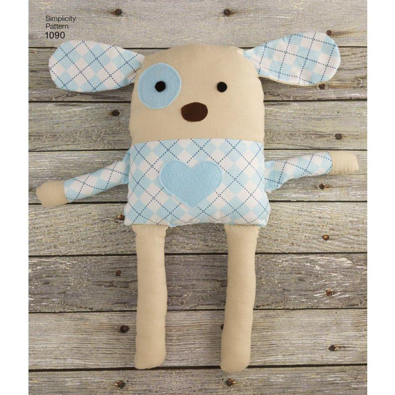 Image 4 of Simplicity 1090 Sewing Pattern Stuffed Dog, Bunny, Monkey, Bear and Lamb