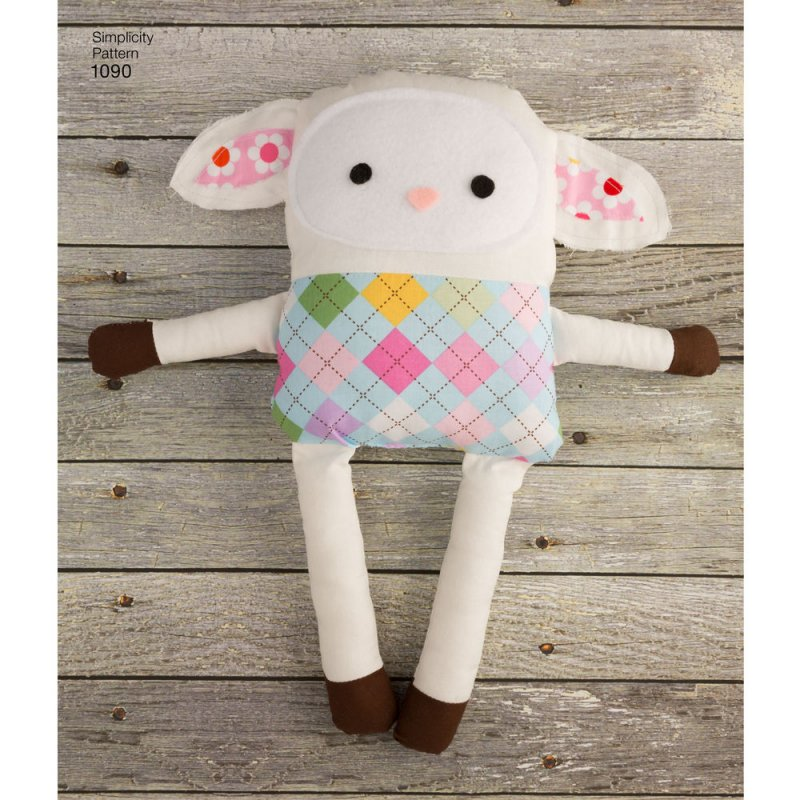 Image 5 of Simplicity 1090 Sewing Pattern Stuffed Dog, Bunny, Monkey, Bear and Lamb