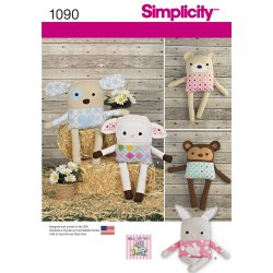 Simplicity 1090 Sewing Pattern Stuffed Dog, Bunny, Monkey, Bear and Lamb