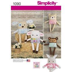Simplicity 1090 Sewing Pattern Stuffed Dog, Bunny, Monkey, Bear and Lamb
