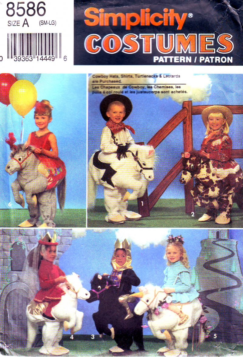 Image 0 of Simplicity 8586 Sewing Pattern Size A (SM-LG) Child's Horse Costume Accessories
