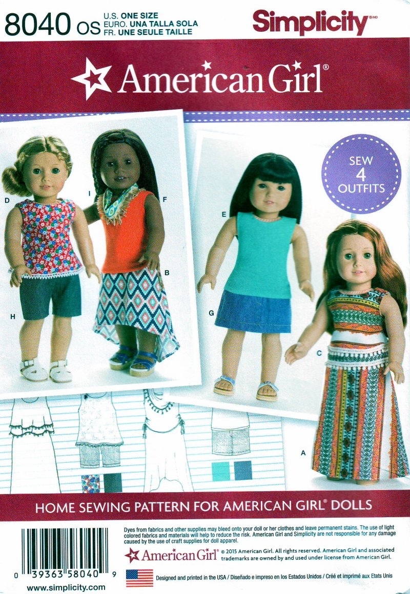 Image 0 of Simplicity 8040 Sewing Pattern for American Girl/18 Inch Doll Clothes 4 Outfits